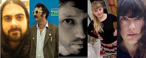 Poets performing at Melbourne writers festival - L-R: Ali Alizadeh, Ryan van Winkle, Terry Jaensch, Hannah Jane Walker, Emily Ballou